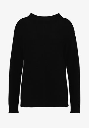 LONGSLEEVE STRUCTURE MIX TURTLENECK - Pullover - black