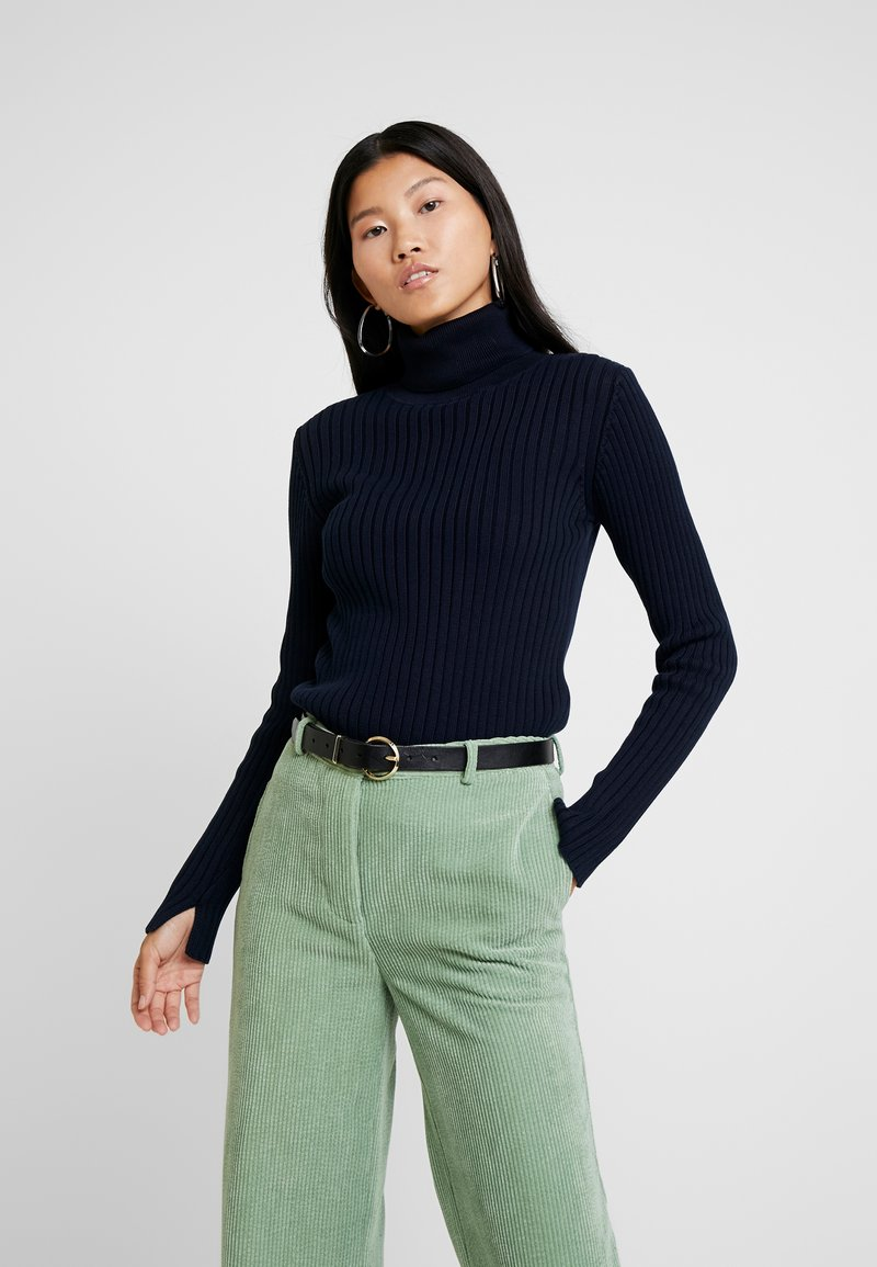 Marc O'Polo - LONGSLEEVE TURTLE NECK STRUCTURE - Strickpullover - midnight blue