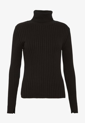 LONGSLEEVE TURTLE NECK STRUCTURE - Trui - black