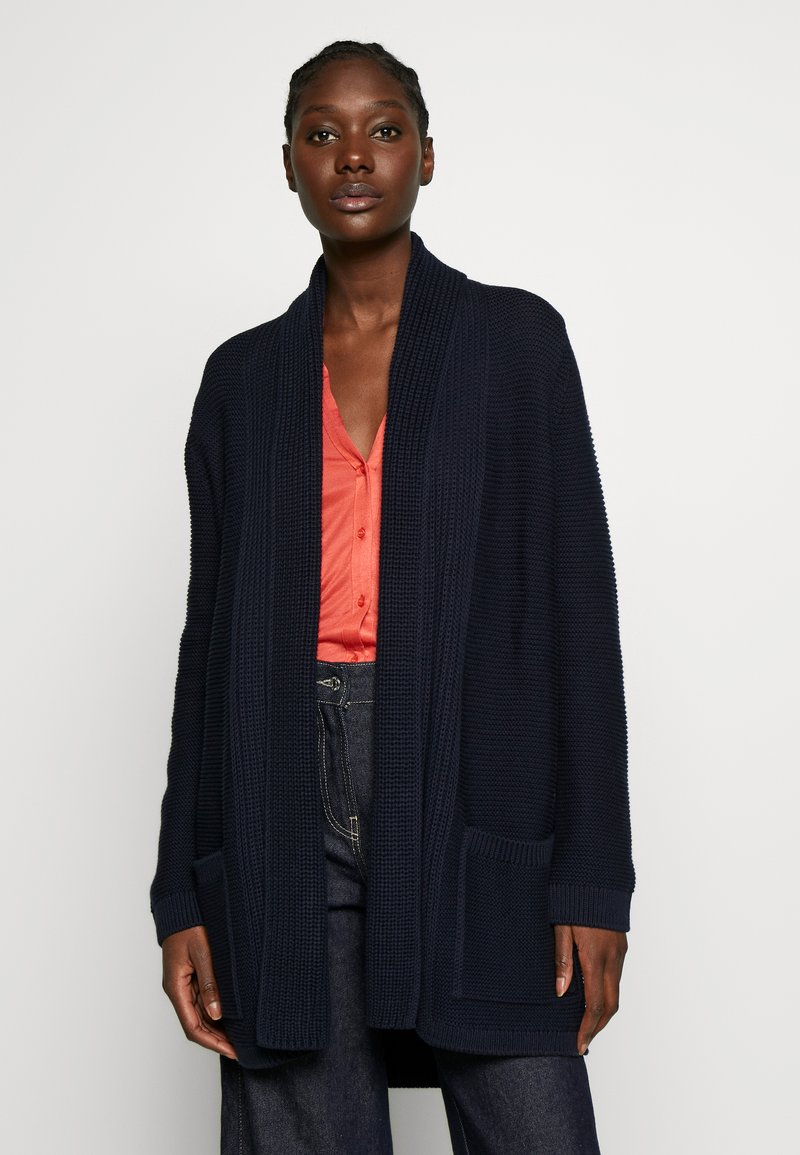 Marc O'Polo - CARDIGAN LONGSLEEVE HOODED WITH PATCHED POCKETS - Kardigan - night sky