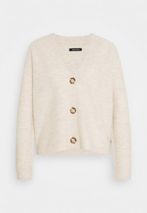 CARDIGAN LONGSLEEVE SADDLE SHOULDER BUTTON CLOSURE - Vest - sandy melange