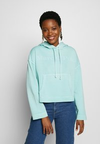Marc O'Polo - LONG SLEEVE HOODED PATCHED POCKET - Hoodie - misty spearmint - 0