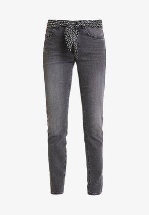 TROUSER MID WAIST - Jean slim - faded black cozy denim