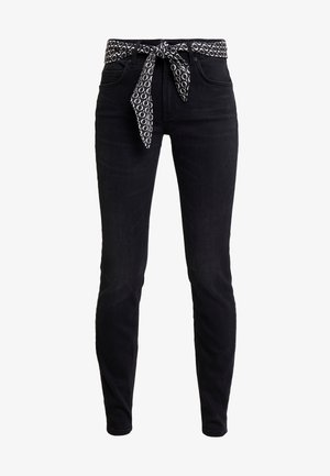 TROUSER MID WAIST REGULAR LENGTH BELT SCARF - Slim fit jeans - deep black sea wash