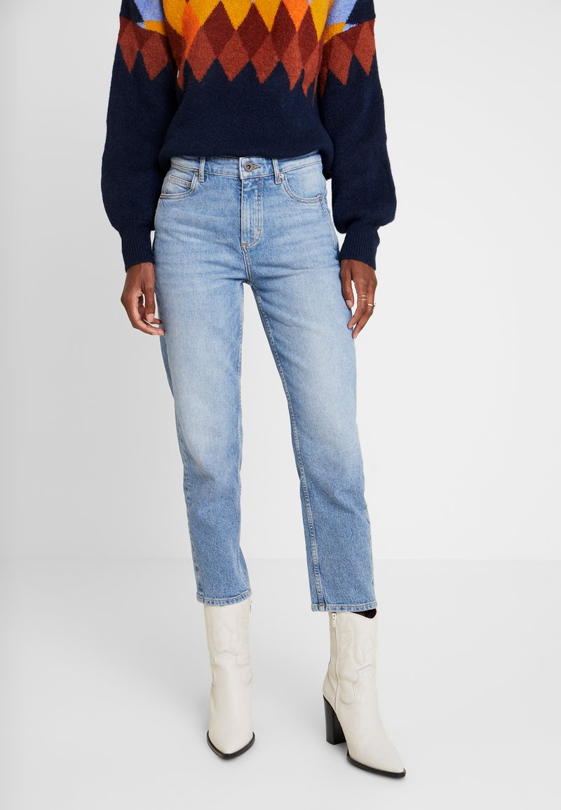 Marc O'Polo - TROUSER MOMS FIT HIGH WAIST CROPPED LENGTH - Jeans relaxed fit - salty bright vintage wash