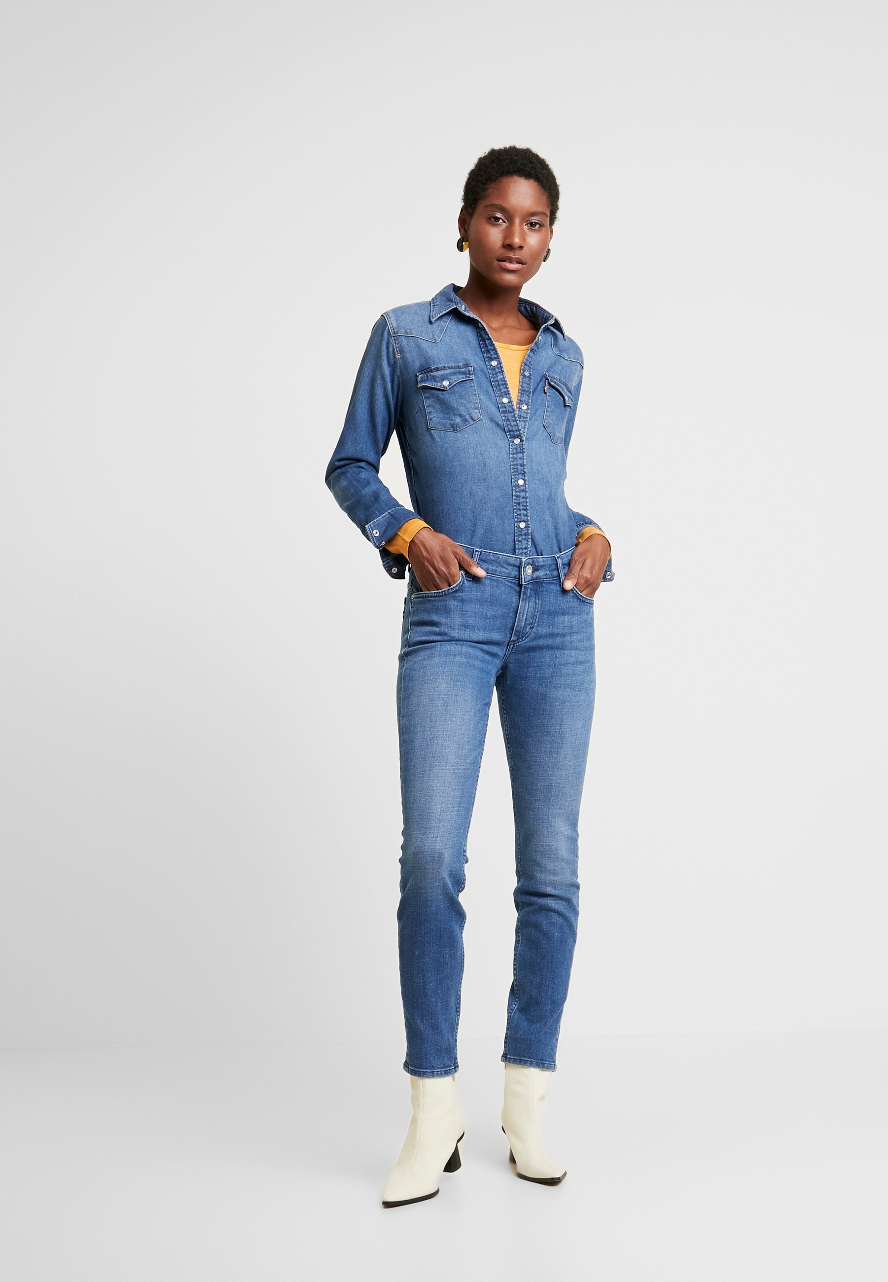 Marc O'Polo TROUSER SLIM LEG - Jeansy Slim Fit - blue forest wash