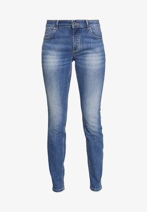 TROUSER MID WAIST - Slim fit -farkut - dark-blue denim