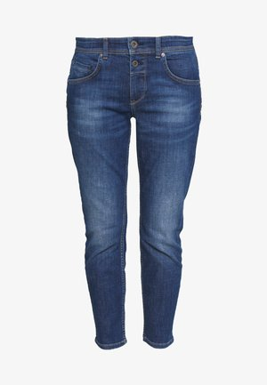 DENIM TROUSER MID WAIST BOYFRIEND FIT CROPPED LENGTH - Slim fit -farkut - vintage dark wash