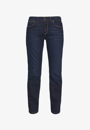 DENIM TROUSER MID WAIST SLIM LEG REGULAR LENGTH - Vaqueros slim fit - dark blue base wash