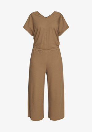 V-NECK WIDE LEG - Jumpsuit - shaded walnut