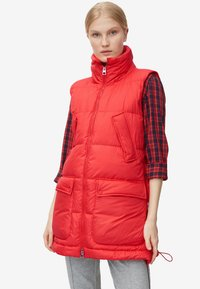 Marc O'Polo - LONG VEST FILLED WITH REAL - Weste - red - 0