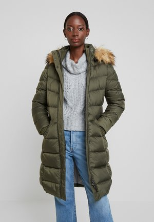COAT LONG FILLED HOOD - Donsjas - workers olive