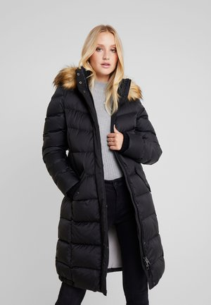 COAT LONG FILLED HOOD - Dunkåpe / -frakk - black