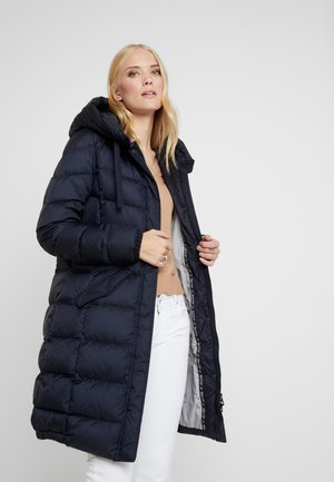 COAT LONG FILLED FIX HOOD FLAP POCKETS CUFFS - Kabát z prachového peří - midnight blue