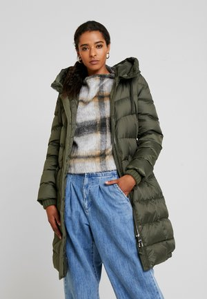 COAT LONG FILLED FIX HOOD FLAP POCKETS CUFFS - Down coat - workers olive