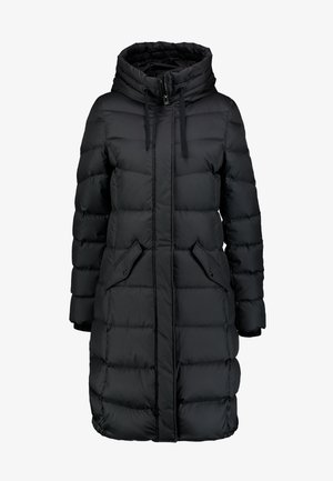 COAT LONG FILLED FIX HOOD FLAP POCKETS CUFFS - Kabát zprachového peří - black