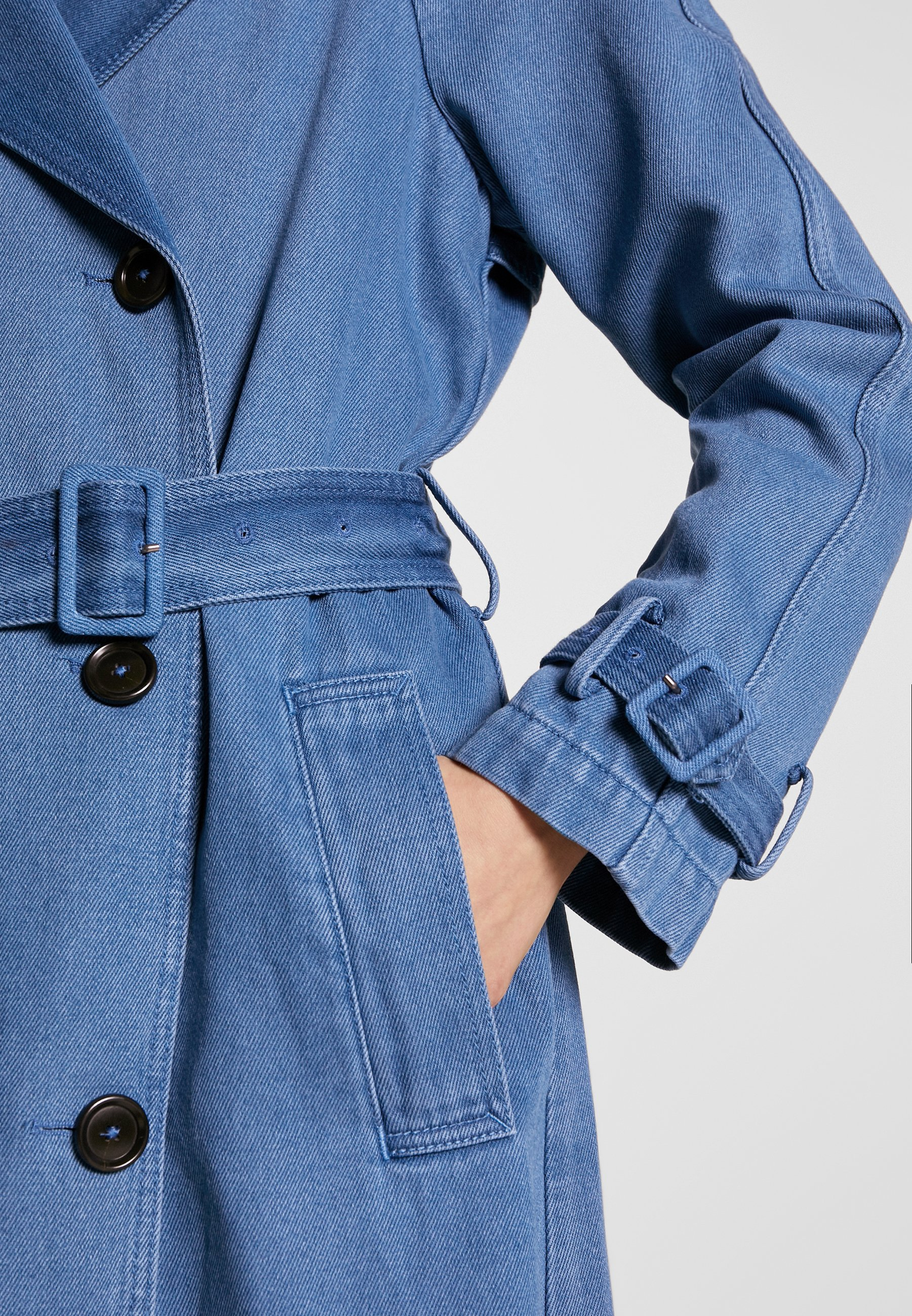 Marc O'Polo DOUBLE BREASTED WELT POCKETS BELT PLEAT - Prochowiec - blue denim