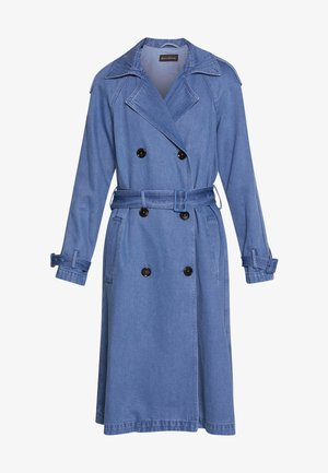 DOUBLE BREASTED WELT POCKETS BELT PLEAT - Trench - blue denim