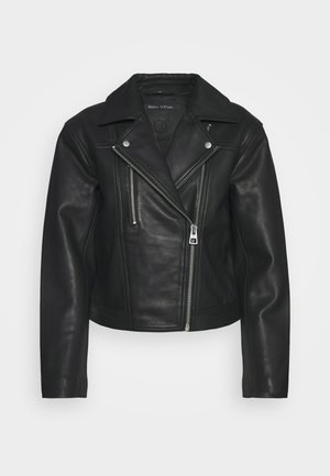 JACKET BIKER STYLE SHORT LENGTH DROPPED SHOULDER - Leren jas - black