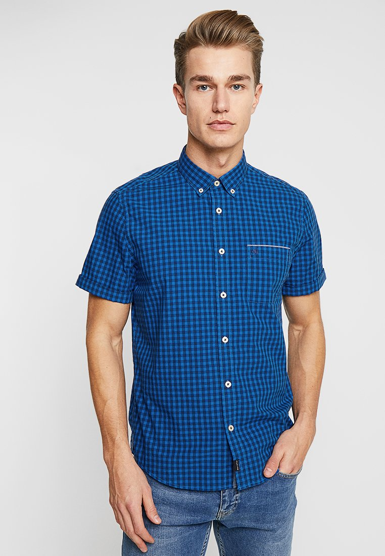 Marc O'Polo - BUTTON DOWN SHORT SLEEVE - Skjorte - dark blue