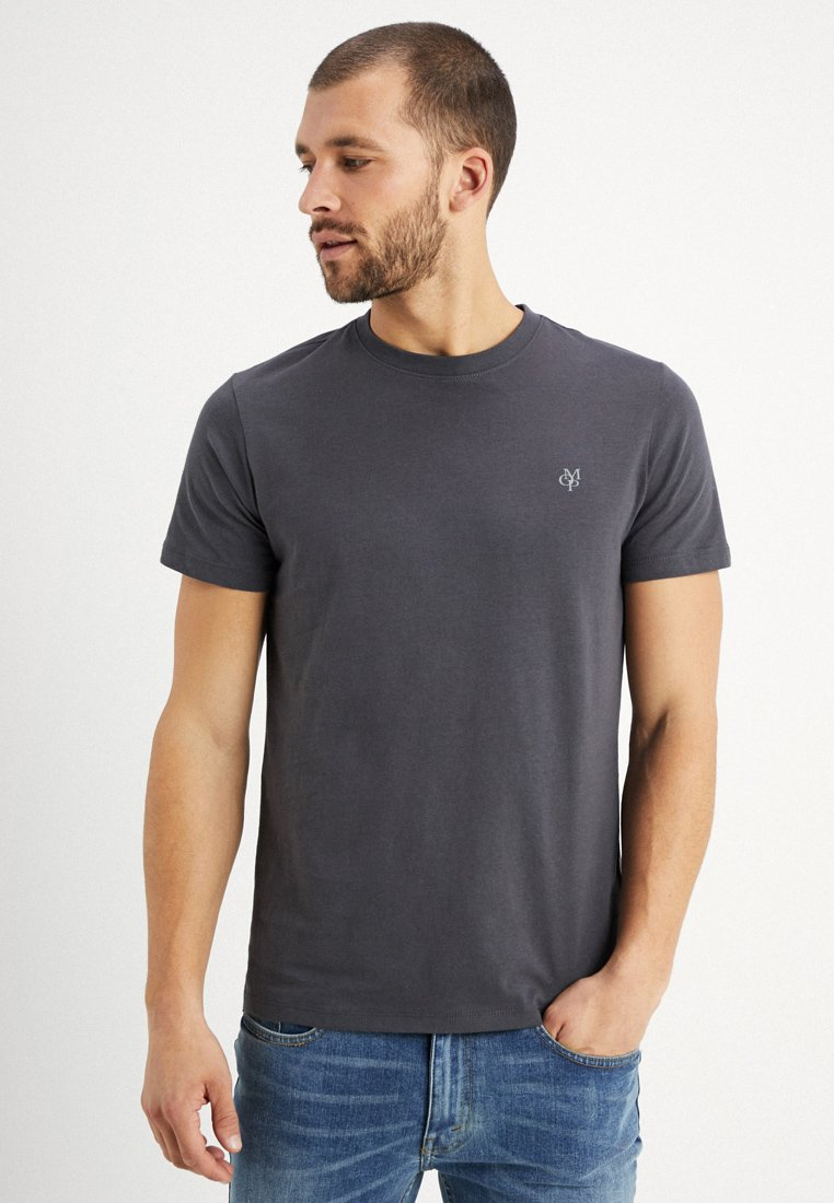 Marc O'Polo - C-NECK - Basic T-shirt - gray pinstripe