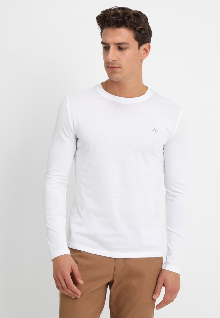 Marc O'Polo - LONG SLEEVE ROUND NECK - Topper langermet - white