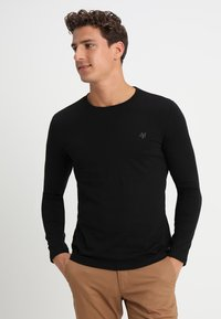 Marc O'Polo - LONG SLEEVE ROUND NECK - Long sleeved top - black - 0