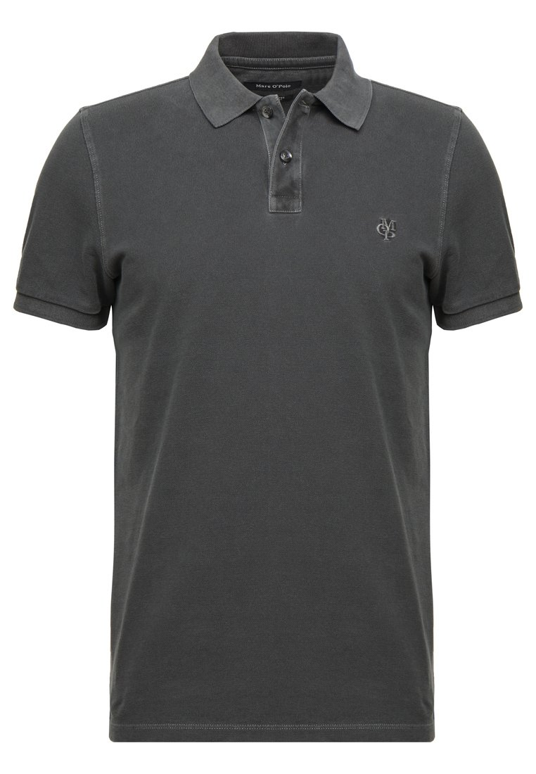 Marc O'Polo SHORT SLEEVE RIB DETAILS - Koszulka polo - pirate black