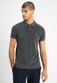 Marc O'Polo - SHORT SLEEVE RIB DETAILS - Polo - pirate black - 0