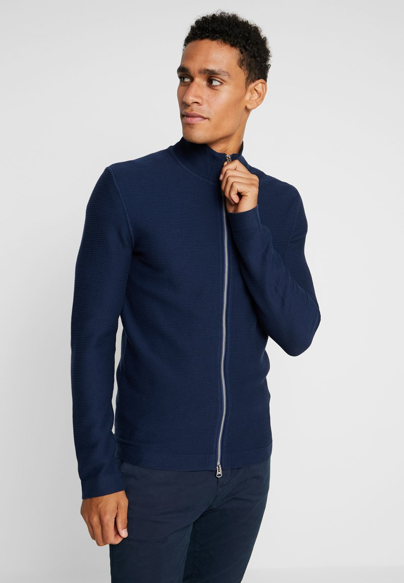 Marc O'Polo - TRAINER  WITH ZIP - Strickjacke - blue fjord