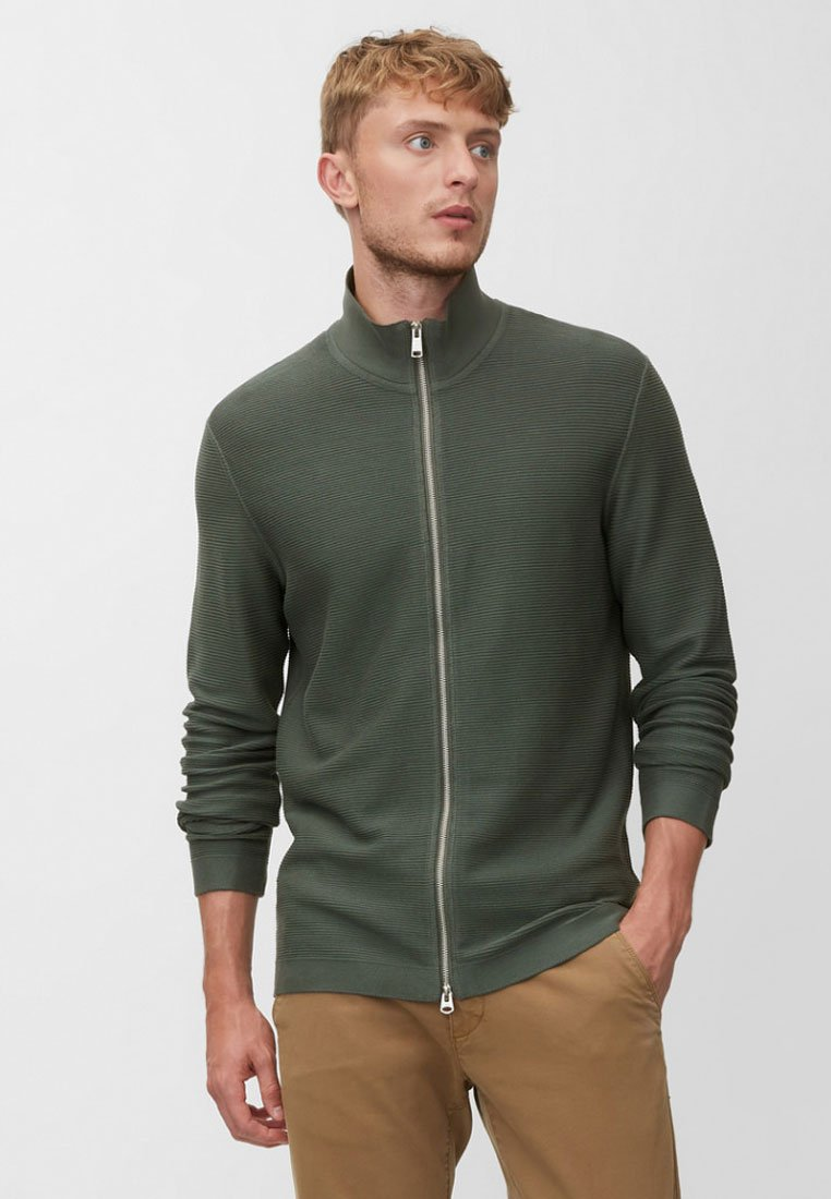 Marc O'Polo - TRAINER  WITH ZIP - Strickjacke - green