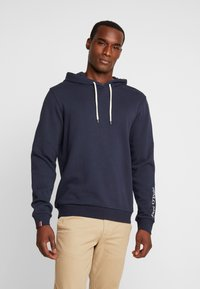 Marc O'Polo - HOODIE WITH RIB DETAILS DRAW CORD - Luvtröja - total eclipse - 0