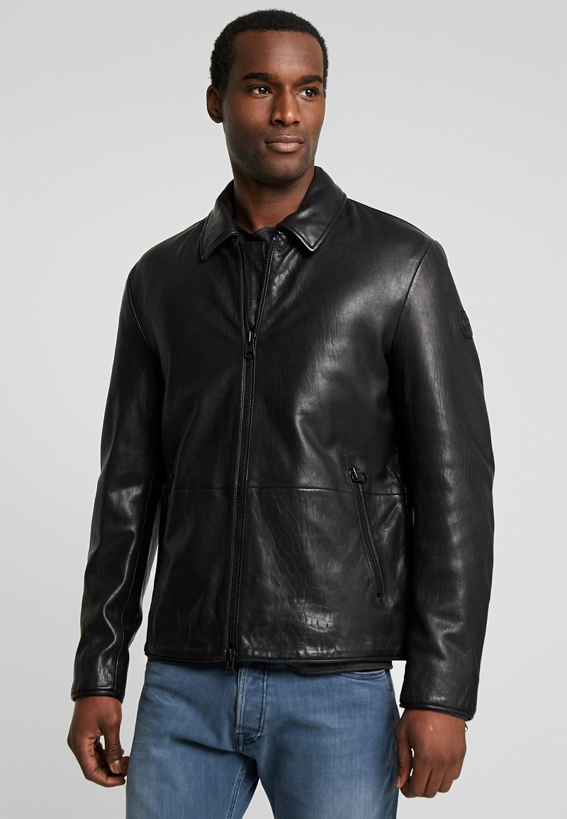 Marc O'Polo - JACKETBIKER - Leren jas - black