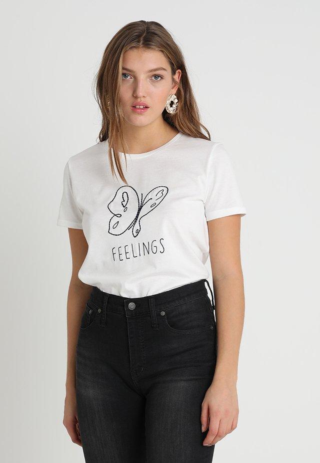 FEELINGS EMBROIDERY - T-shirt z nadrukiem - antique white