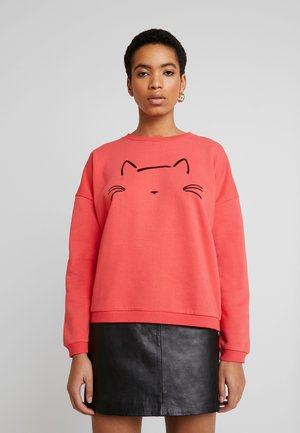 CAT EMBROIDERED - Sweatshirt - tomato