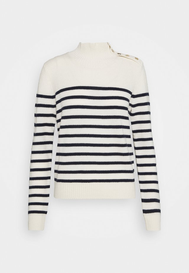 MONTSI - Stickad tröja - ecru/marine