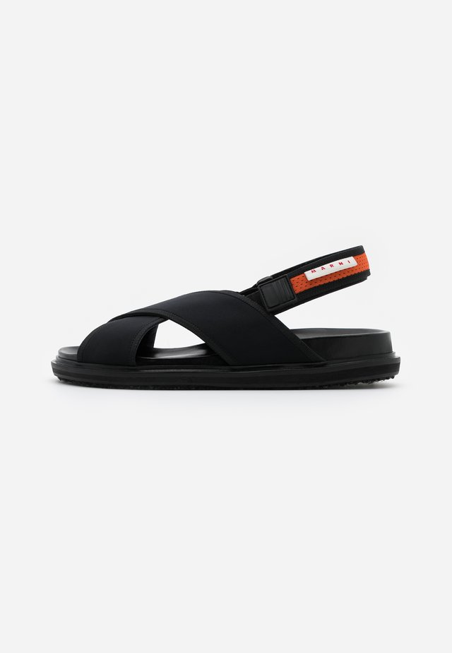 Sandalen - black/fluo oranged