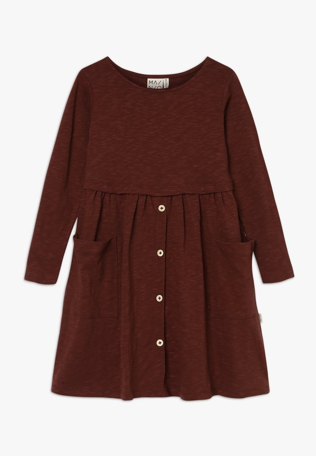 BUTTON DRESS SLUB - Jerseyjurk - hot chocolate