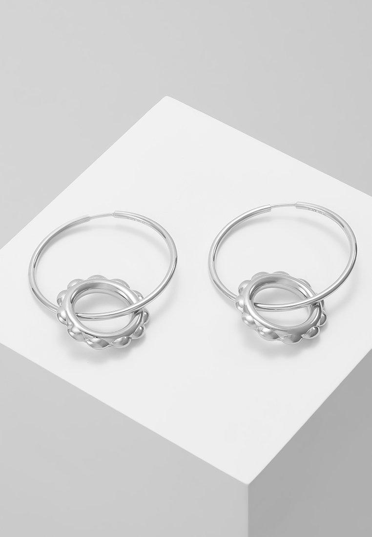 Maria Black - SENORITA HOOP PAIR POPPY CHARM - Earrings - silver-coloured