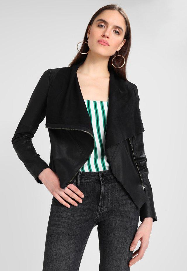 VALENTINE - Leather jacket - black
