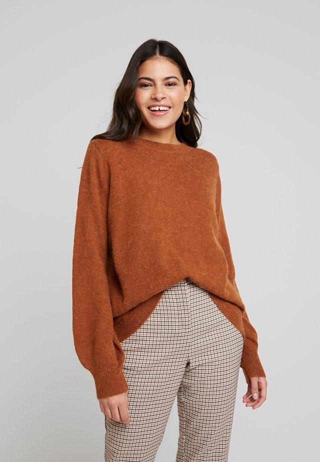 HELANOR - Stickad tröja - mahogany brown melange
