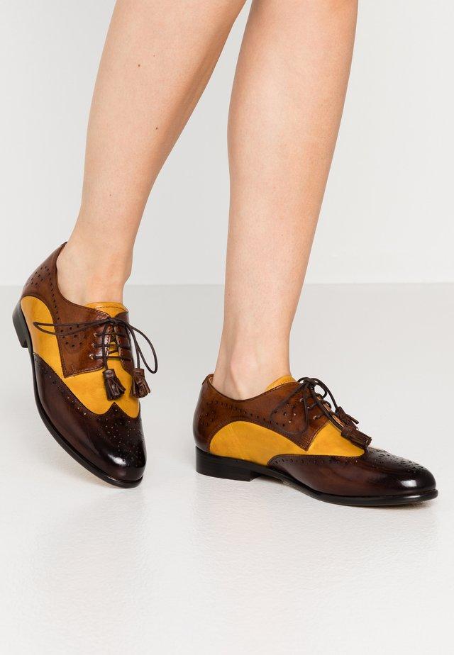 SELINA  - Lace-ups - mid brown/indi yellow/wood