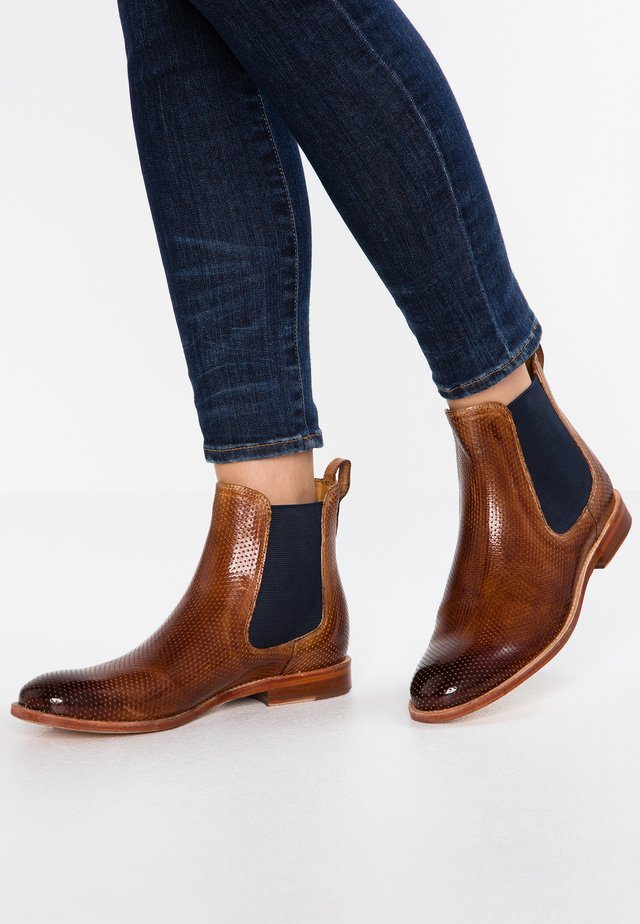 AMELIE - Classic ankle boots - tan/navy/nature