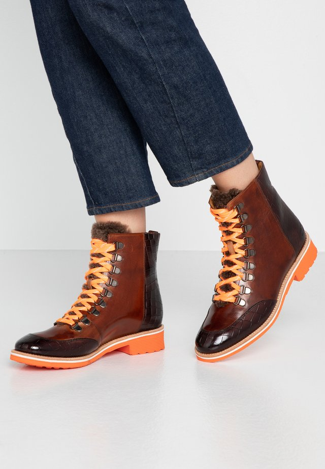 AMELIE - Lace-up ankle boots - mogano/wood/cognac/rich tan/orange/white