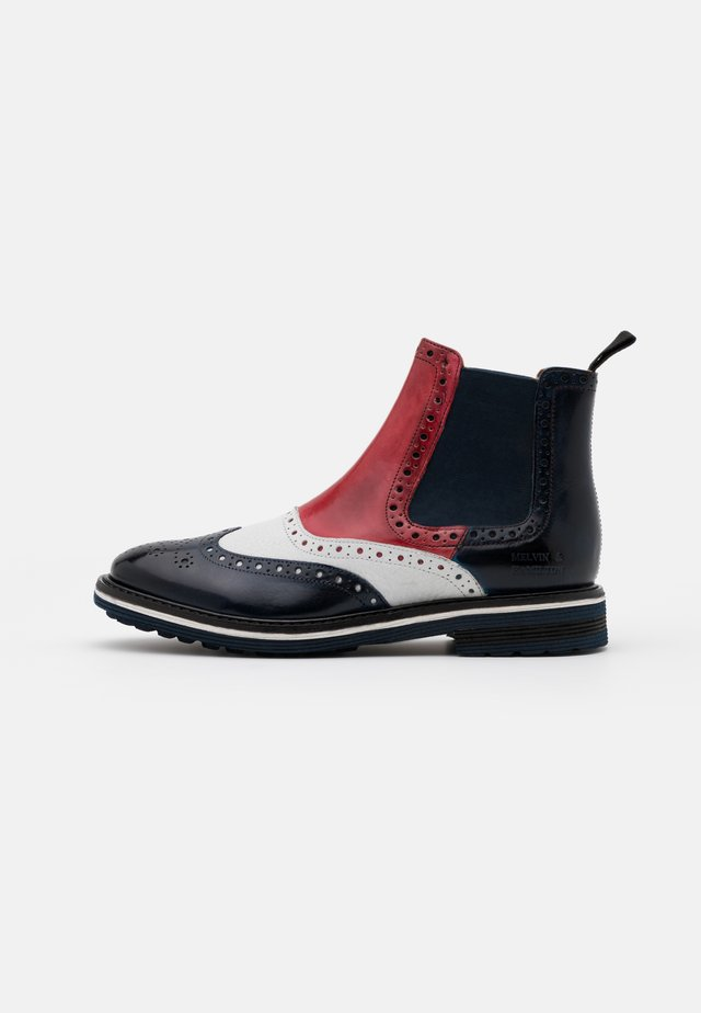 AMELIE  - Stiefelette - navy/milled white/ruby/white