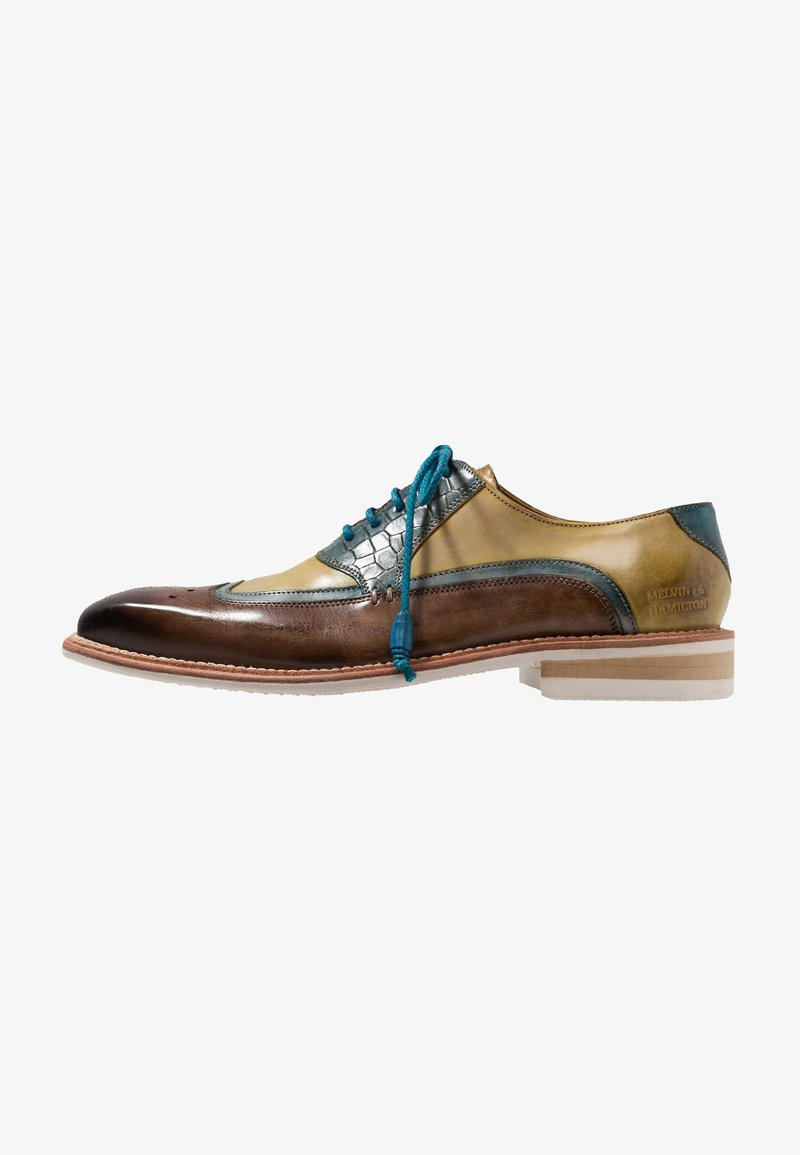 Melvin & Hamilton - MARVIIN - Zapatos de vestir - mid brown/bluette/white