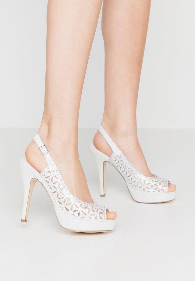 Højhælede peep-toes - ivory