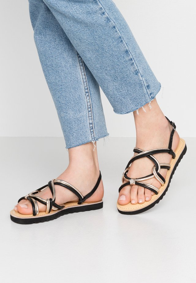 CILIA - Sandals - black/gold
