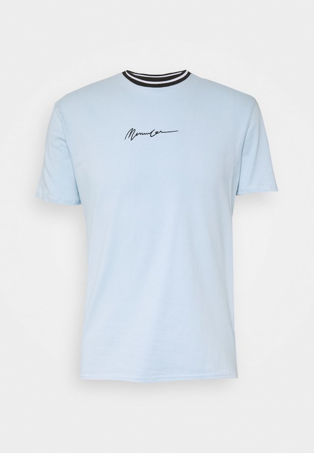 UNISEX ESSENTIAL STRIPE NECK  - T-Shirt print - sky blue