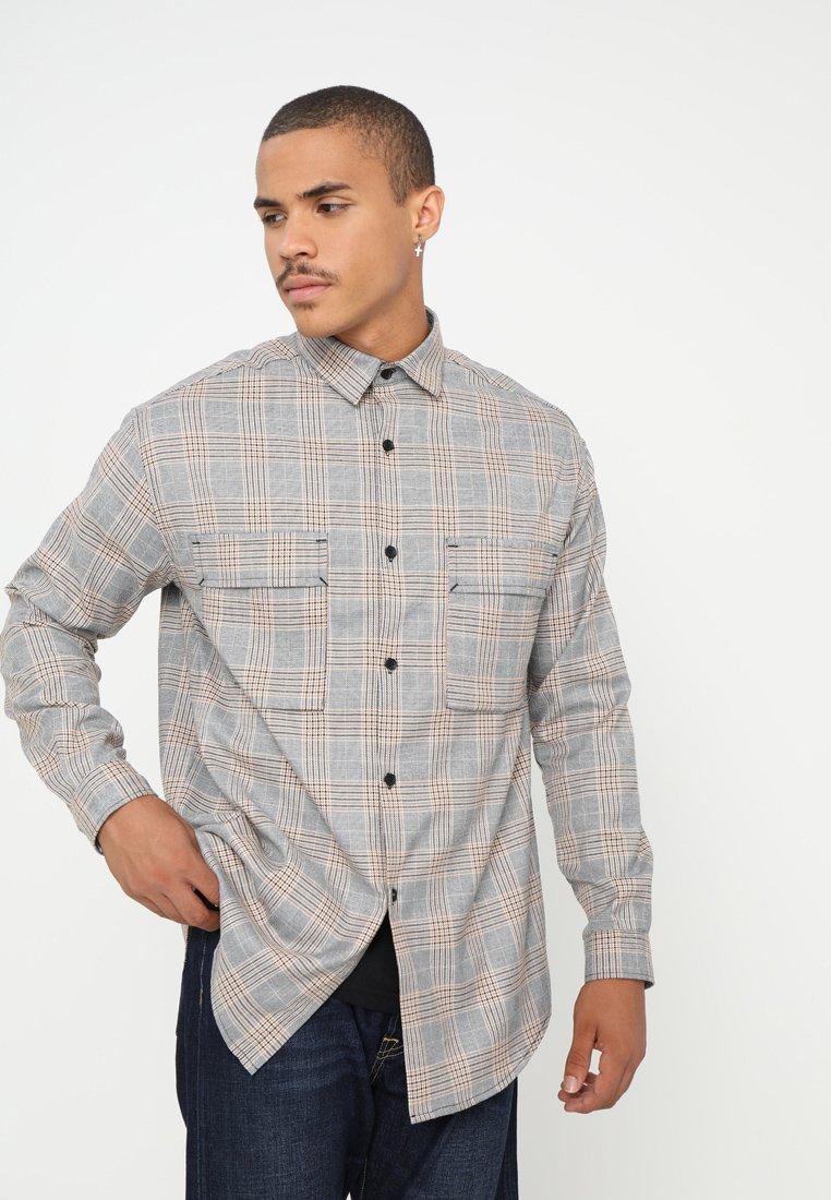 Mennace - CHECK DOUBLE POCKET - Shirt - grey